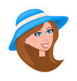 woman face with hat isolated on white background vector image