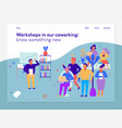 workshops in coworking page design vector image vector image