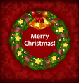 Xmas wreath on Red Background vector image vector image