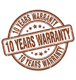 10 years warranty brown grunge round vintage vector image vector image