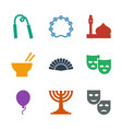 9 culture icons vector image vector image