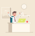 a man sits in the workplace in the office and vector image vector image