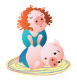 a pig specialist makes massage to client female vector image