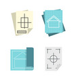 architectural paper icon set flat style vector image vector image