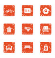asian region icons set grunge style vector image vector image
