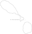 Black White St Kitts and Nevis Outline Map vector image