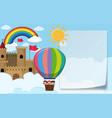 Border template with kids riding balloon vector image