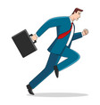 businessman running with briefcase vector image vector image