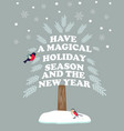 christmas new year poster with holiday wishes vector image vector image