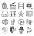 Cinema movie vintage icons set vector image vector image