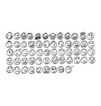 collection of freehand doodle emoji emoticons vector image
