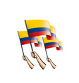 colombia flag and hand on white background vector image vector image