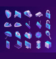 computer security isometric 3d icons set vector image