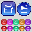 Credit card icon sign A set of twelve vintage vector image vector image