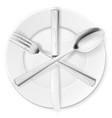 crossed fork spoon and knife on white plate vector image vector image