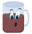 cup coffee with eyes on white background vector image vector image