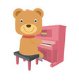 cute brown teddy bear playing piano in flat style vector image vector image