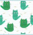 cute cactus kitty kitten cat seamless pattern vector image