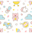 cute kids toys seamless pattern in pastel colors vector image vector image