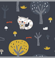 cute racoon in the wood seamless pattern vector image vector image