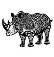 decorative rhinoceros in tattoo style vector image vector image