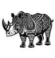 decorative rhinoceros in tattoo style vector image