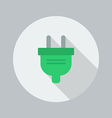 Eco Flat Icon Electric Plug vector image vector image
