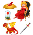 Fairy tales characters in red vector image vector image