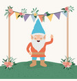 gnome character in the garden with label wooden vector image