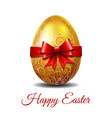 gold easter egg tied of red ribbon vector image