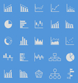 Graph color icons on blue background vector image vector image