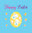 greeting card with an easter egg and hares vector image vector image