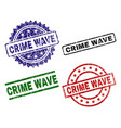 grunge textured crime wave seal stamps vector image vector image