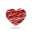 hand drawn red heart with shadow isolated icon vector image