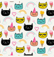 happy cat for kids with hand drawn pattern vector image vector image