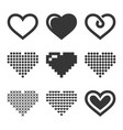 heart icons set on white background vector image