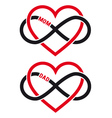 hearts with infinity sign for mom dad set vector image vector image