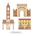 italy rimini outline city buildings linear vector image vector image