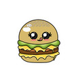 kawaii cute hamburger fast food vector image