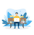 man with laptop sitting in nature vector image vector image