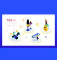 music party - modern isometric web banner vector image
