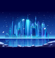 night neon winter city skyline at frozen bay vector image vector image