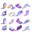 online banking isometric icons vector image vector image