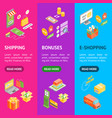 online shopping banner vecrtical set isometric vector image