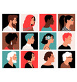 people side faces profile face set muslim vector image