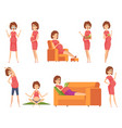 pregnant characters healthy happy woman eating vector image