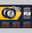 realistic car wheels ad poster vector image