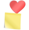Red Heart with paper sticker vector image vector image