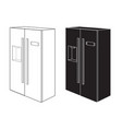 refrigerator two-door black and white icon vector image vector image