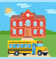 school bus near college public transport vector image
